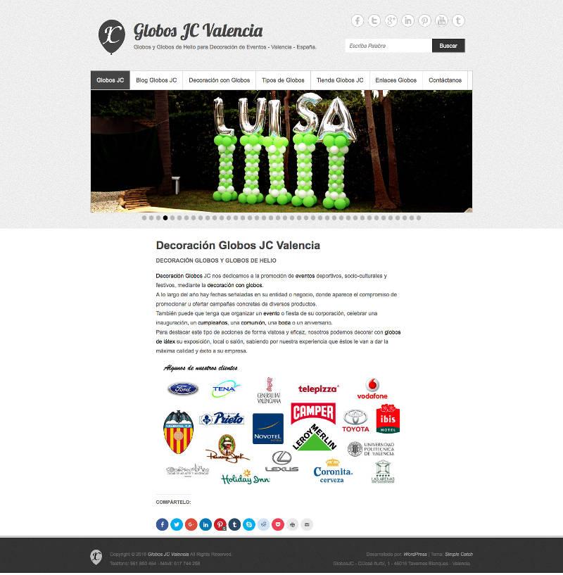 Nueva Web Globos JC Valencia