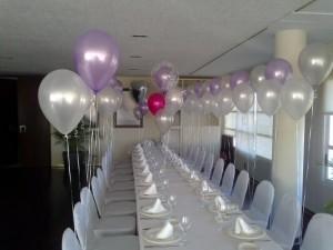 decoración globos helio comunión