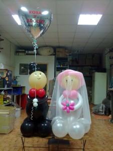 decoración globos helio boda